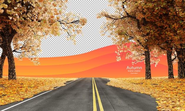Strada autunnale con alberi autunnali e foglie secche creatore di scene autunnali