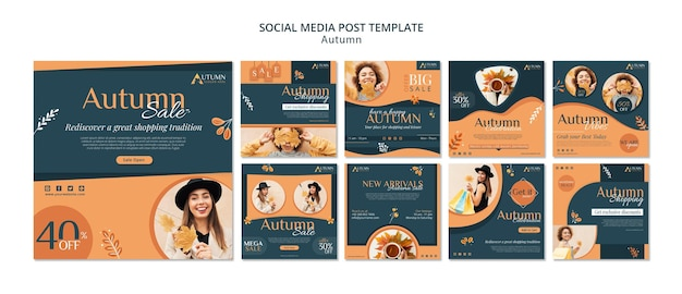 Modello di post sui social media di vendita autunnale