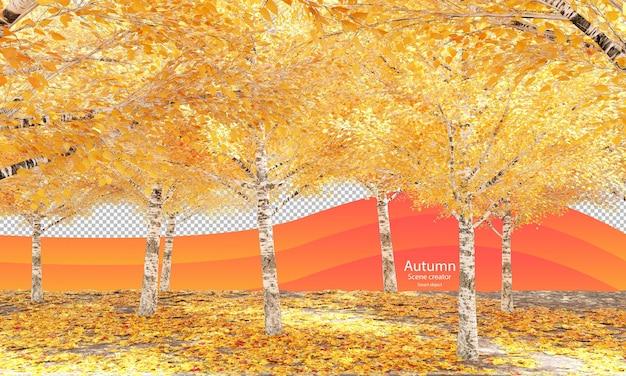 Scena autunnale con alberi autunnali e foglie secche in betulla autunnale creatore di scene in autunno