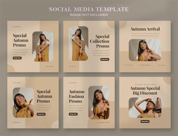 Banner di social media autunnale e modello di post di instagram