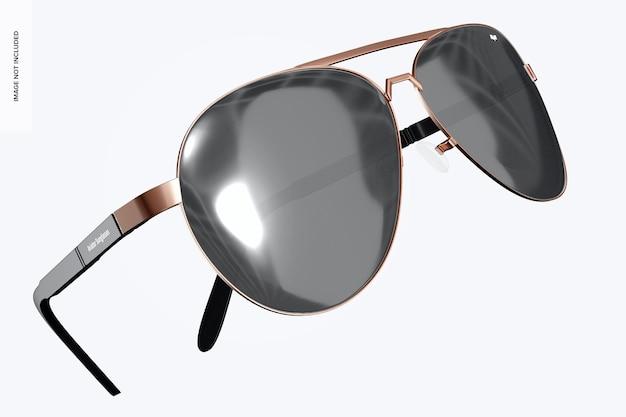 Mockup di occhiali da sole da aviatore, fluttuanti
