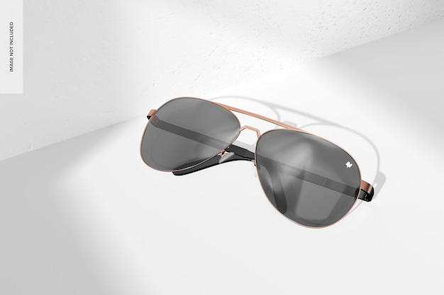 Mockup di occhiali da sole da aviatore, vista dall'alto