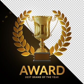 Award cup gold trophy 3d rendering composizione