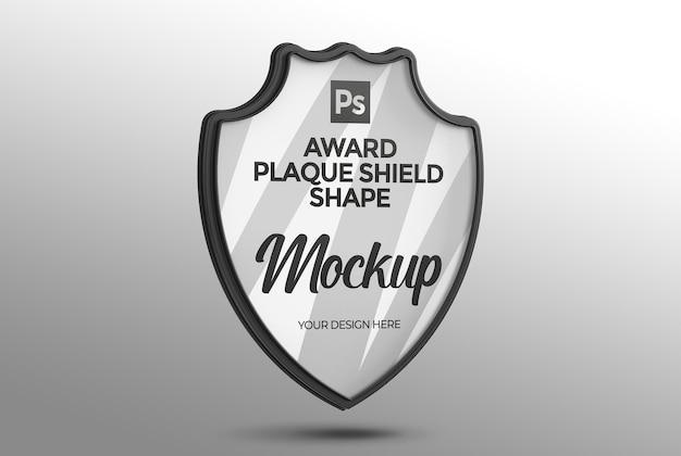 Mockup a forma di scudo placca premio