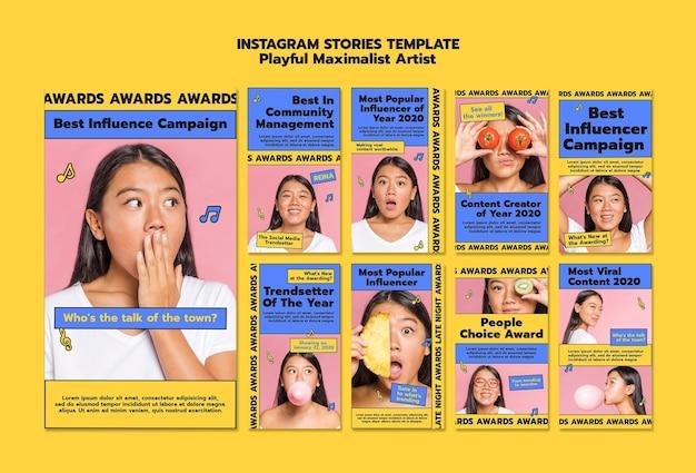 Modello di storie di instagram di notte dei premi