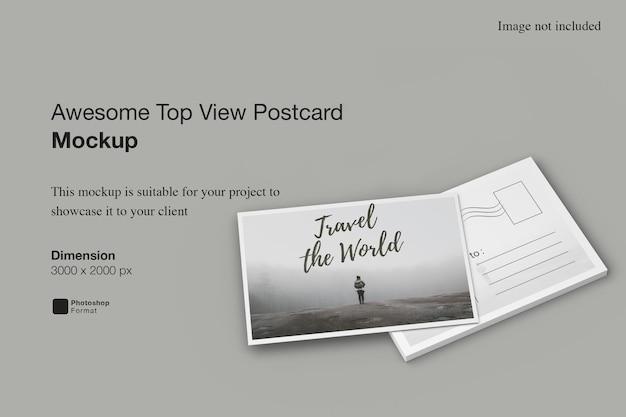 Fantastico mockup di cartolina con vista dall'alto