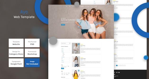Modello web del negozio di categoria ayo