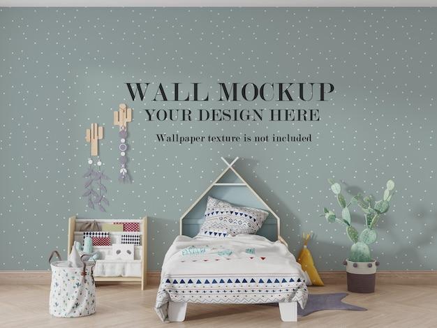 Mockup di mockup del muro della camera da letto del bambino con idee di accessori