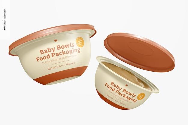 Mockup di imballaggio alimentare per ciotole per bambini, galleggiante