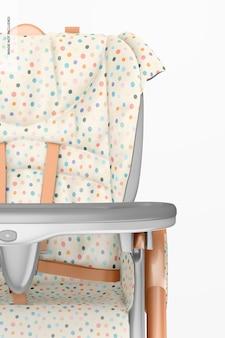 Mockup di sedia per l'allattamento del bambino, primo piano