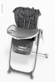Mockup di sedia per l'alimentazione del bambino, vista dall'alto