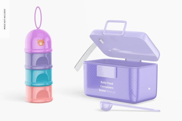 Mockup di scena di contenitori per alimenti per bambini