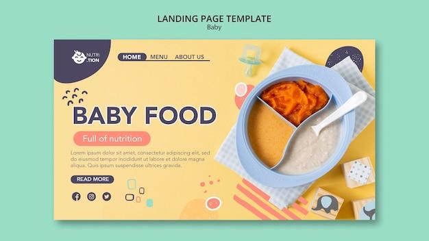 Modello di pagina di destinazione per alimenti per l'infanzia