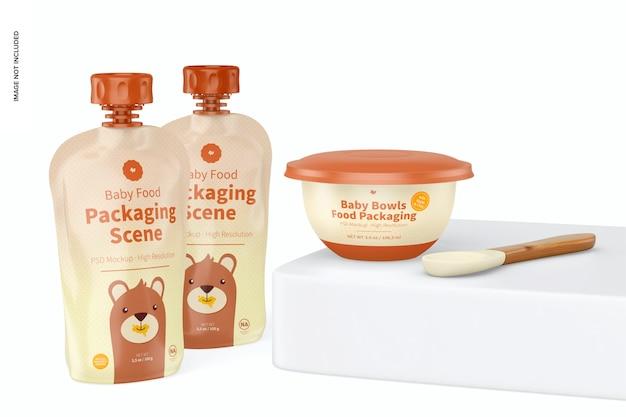 Mockup di scena di imballaggio per alimenti per bambini, vista giusta