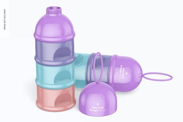 Mockup di contenitori portatili per alimenti per bambini