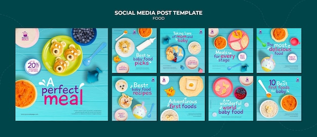 Modello di post sui social media per alimenti per bambini