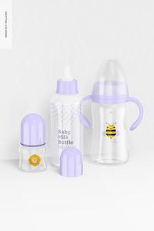 Mockup di scena di bottiglie di latte per bambini, vista frontale 02