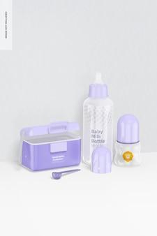 Mockup di scena di bottiglie di latte per bambini, vista da sinistra