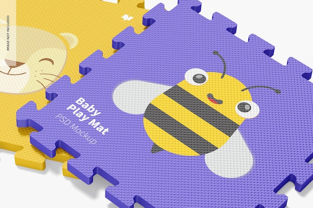 Mockup di tappetino da gioco per bambini, primo piano