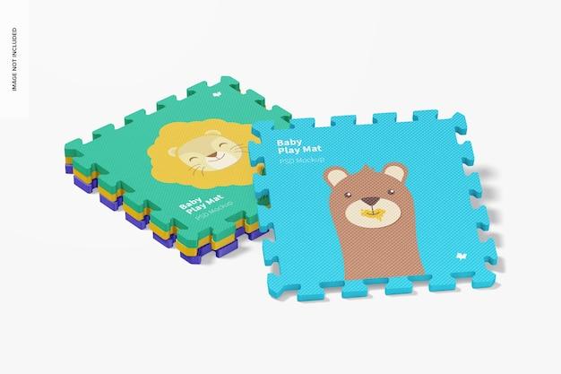 Mockup di tappetino da gioco per bambini, impilato