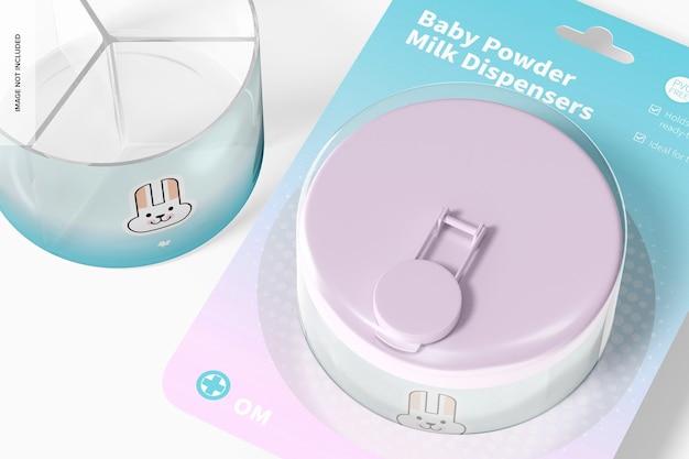 Mockup di blister per dispenser di latte in polvere per bambini, primo piano
