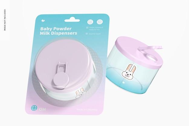 Mockup di blister per dispenser di latte in polvere per bambini, galleggiante