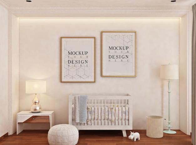 Cameretta del bambino con cornice per poster mockup