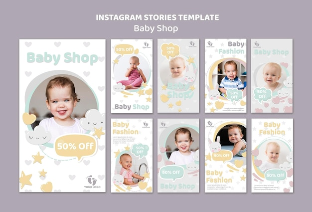 Modello di storie di instagram di baby shop