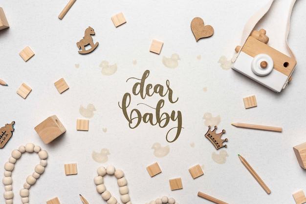 Decorazioni per baby shower con fotocamera