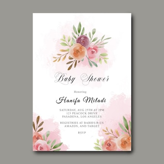 Modello di baby shower con bouquet di fiori dell'acquerello