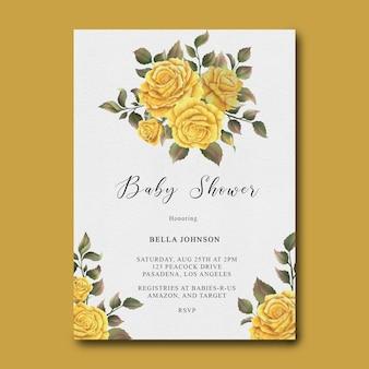 Modello di baby shower con cornice fiore rosa gialla dell'acquerello