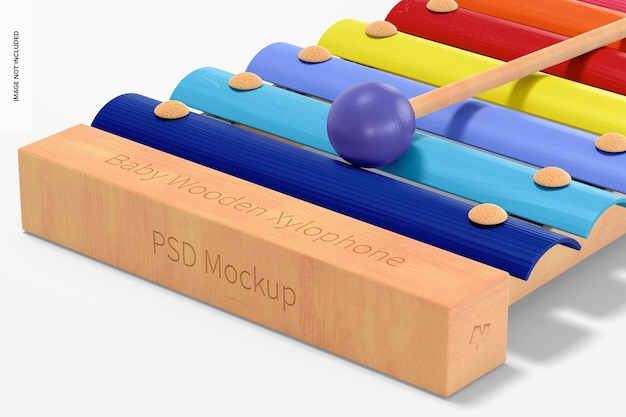 Baby xilofono in legno mockup, close up