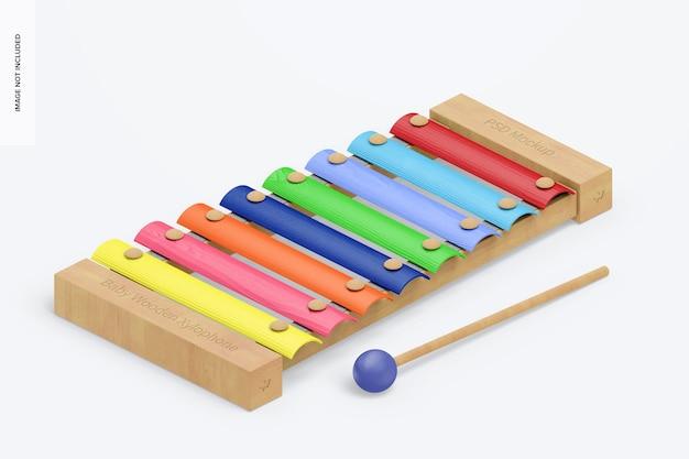 Mockup di xilofono in legno per bambini, vista isometrica a destra