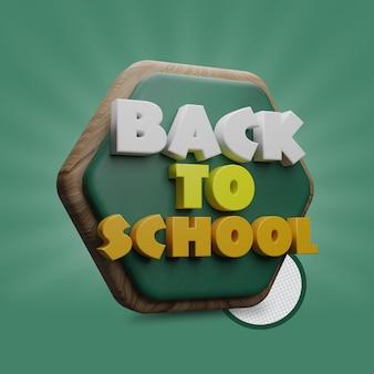 Torna a scuola 3d rende testo e forma poligonale