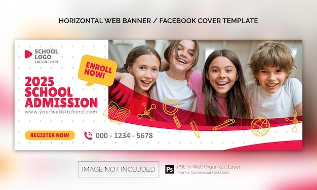 Banner orizzontale per l'ammissione a scuola o modello pubblicitario per la copertina di facebook