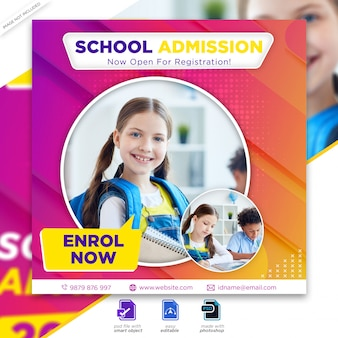 Ritorno a scuola ammissione marketing social media post o modello flyer quadrato premium psd