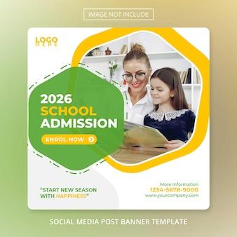 Modello di ammissione per il ritorno a scuola banner per social media