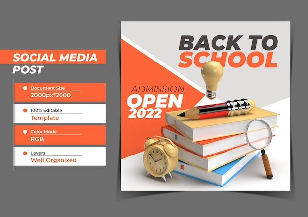 Torna a scuola modello di banner post instagram marketing digitale.
