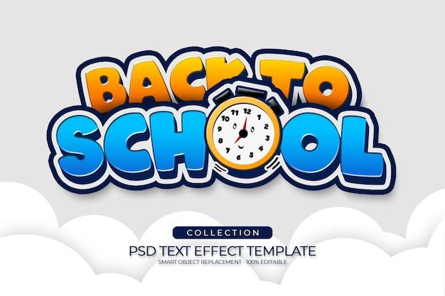 Ritorno a scuola felice e divertente cartone animato in stile colore con icona nuvola e orologio colore blu giallo