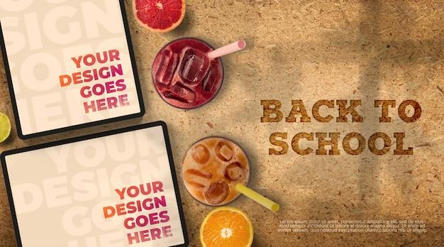 Ritorno a scuola mockup con compresse e succhi di frutta