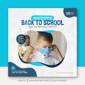 Banner per social media o post design per il ritorno a scuola e l'ammissione alla scuola modello premium