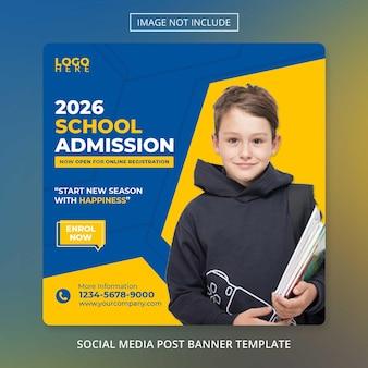 Ritorno a scuola ammissione alla scuola banner sui social media modello poster dell'accademia di istruzione