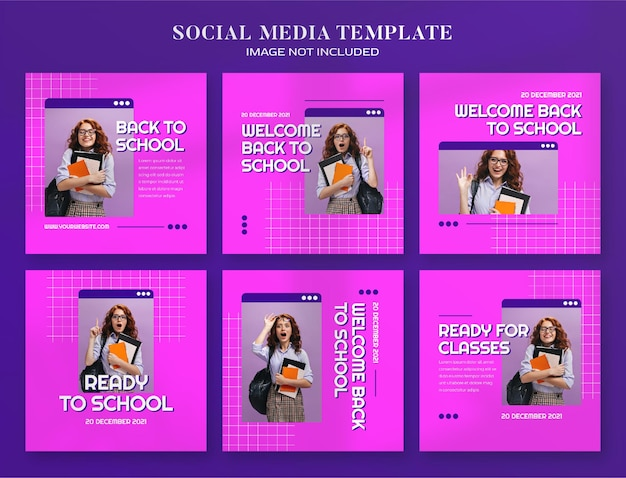 Banner di social media di ritorno a scuola e modello di post di instagram con stile computer estetico retrò