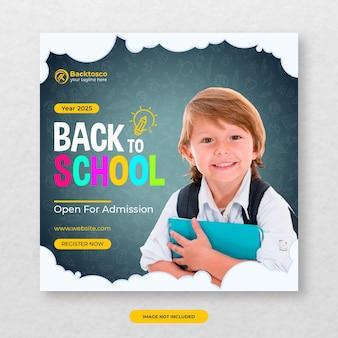 Banner di social media di ritorno a scuola