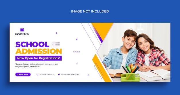 Torna a scuola volantino banner web social media e modello di progettazione foto di copertina di facebook