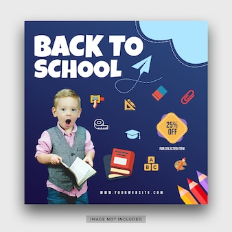 Promo di offerta speciale di ritorno a scuola per il modello di post sui social media degli studenti
