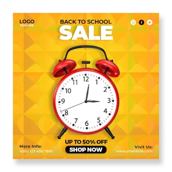 Torna a scuola sveglia vintage vendita social media instagram post banner template
