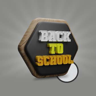 Ritorno a scuola con rendering 3d a forma di poligono di lavagna