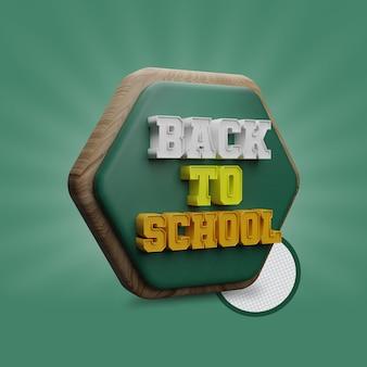 Ritorno a scuola con rendering 3d di forme poligonali