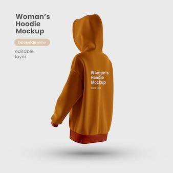 Vista posteriore del mockup di felpa con cappuccio da donna personalizzabile premium
